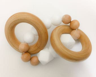 Wood Silicone Teether - Wood Teething - Wood and Silicone Teether - Wood Ring Teether - Wood Teething Ring - Silicone Teething Ring