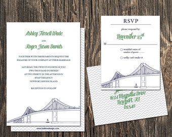 Newport Rhode Island Wedding Invitation - Newport Rhode Island Destination Wedding