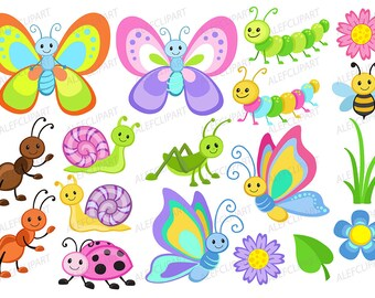 Bugs clipart, Cute  Bugs - Clipart Coloring, Clipart Set