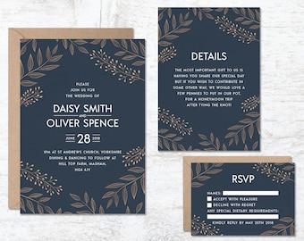 Royal Blue Wedding Invitation Template, Navy Blue Wedding Invitations, Wedding Invitation Printable, Floral Wedding Invite, Vintage Wedding