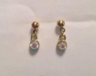 Tiny Gold Diamond Dangle Earrings, Little Girl Earrings, Baby Earrings
