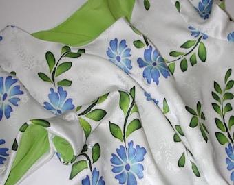 No. 500 Casual & Washable White/ Green/ Blue Silk Jacquard DRESS Hand Painted Batik,  Size 8-10