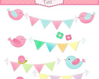 ON SALE bunting clip art - flag clip art - Digital clip art for all use, Bunting birds, bird clip art, birthday scrapbooking, instant downlo