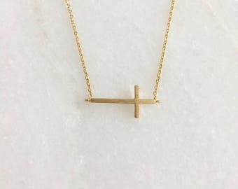 Gold Sideways Cross Dainty Necklace