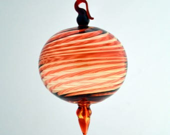 Hand Blown Ornament, Red & Gold Ornament, Art Glass Ornament, Round Ornament, Glass Ornament, Suncatcher