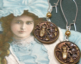 1800s Beetle BUTTON earrings, Victorian insect with cut steel. Antique button jewellery.