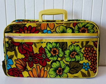 Vintage 60's Yellow Flower Power Suitcase/ Mod 60s-70s Floral Overnight Bag