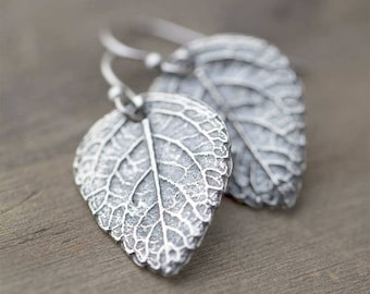 Silver Leaf Earrings, Sterling Silver Earrings for Women, Handmade Silver Jewelry, Outdoors Gift Silver Dangle Earrings Jewellery by Burnish