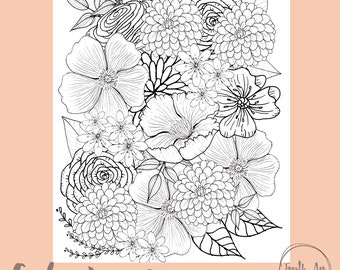 Flower Coloring Page, Floral Coloring Page, Adult Coloring Page, Flowers to Color
