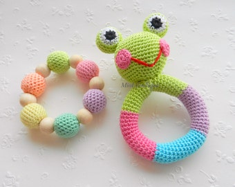 Baby rattle Frog Baby toy SET of 2 Grasping and Teething Toys Pastel colors Frog Stuffed toys Gift for baby Girls Boys