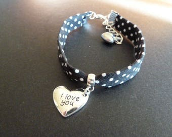 Bracelet Liberty black polka dots white engraved heart charm * I Love You *.