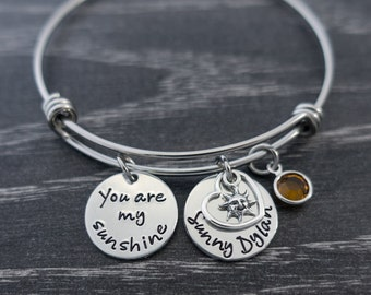 You are My Sunshine / Wire Bangle Bracelet / My only sunshine / Sunshine Bracelet / Mother Jewelry / Personalized Bracelet