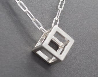 Pendentif cube en argent Sterling