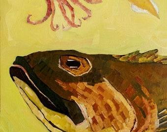 Lingcod, Squid Original Oil Painting
