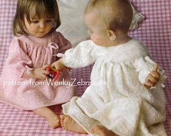 Vintage Knit Knitted Knitting Christening Baptism Dress Pattern PDF B086 from WonkyZebra