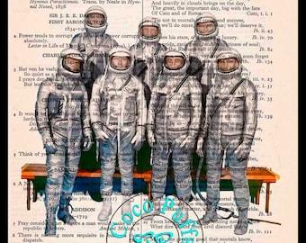 NASA Mercury 7 Astronauts Drawing - Beautifully Upcycled Vintage Dictionary Page Book Art Print