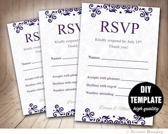 RSVP template,Wedding RSVP,Wedding Response Cards,Instant Download Wedding RSVP Card in Purple