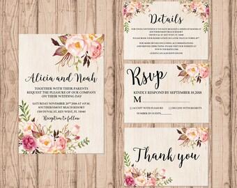 Rustic wedding invitation set PRINTABLE, custom rustic wedding invitation suite, custom invitation, rustic invitation, wedding stationary
