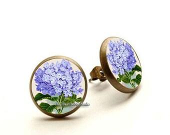 Hydrangea Earrings, purple flower stud, Flower earrings, Spring earrings, Hydrangea jewelry, Hypoallergenic Earrings