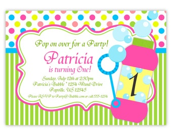 Bubble Invitation - Pink Yellow Blue Polka Dots, Green Stripe, Blowing Bubbles Personalized Birthday Party Invite - a Digital Printable File