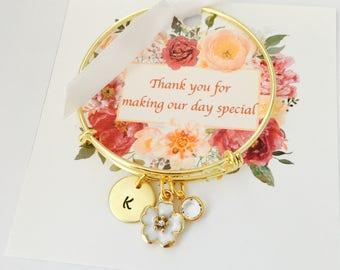 Flower Girl Jewelry, Wedding Jewelry, Personalized Flower Girl Gift, Wedding Thank You Gift, Flower girl Bracelet, Wedding Party Jewelry