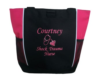 Tote Bag Personalized Nurse Nursing Midwife Doula ER RN Student LPN Medic Shock Trauma Heart Stethoscope