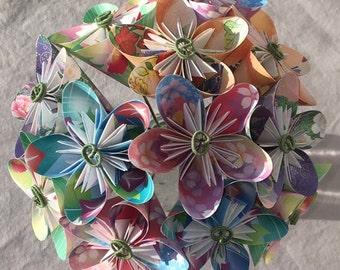 Floral Origami Flower Bouquet, 1st Anniversary, Cancer Patient Flowers, Valentine's Day, Office Decor, Wedding Centerpiece, Sympathy Flowers