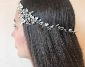 Bridal headpiece, bridal hair accessories, wedding hair vine, wedding tiara, wedding wreath & tiara, crystal tiara, bridal hair halo
