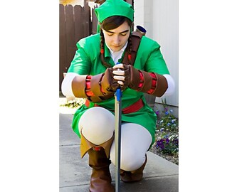 Link Costume Ocarina of Time from the Legend of Zelda custom made in the USA to any size Pro Cosplay Quality