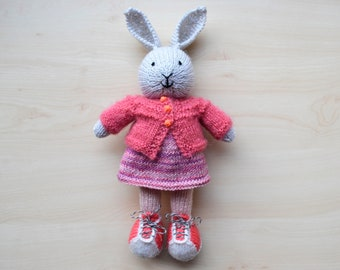 Hand Knit Bunny Cute Knitted Little Toy Easter Bunny Girl Toy Cotton Doll For Girls Rabbit Mother's Day Gift Stuffed Animal