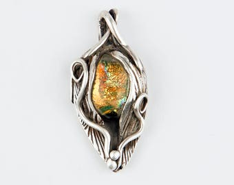 Glalss Leaf Pendant, OOAK Sterling Silver and gold/orange Fused Glass Necklace pendant