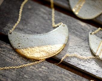 22k Gold Dipped Half Wave -  wedding jewelry, minimalist jewelry, nickel free
