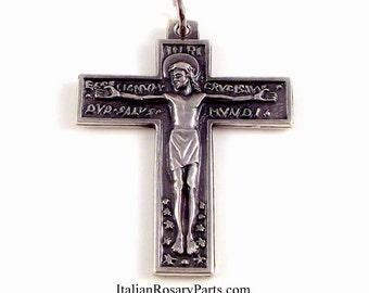 Florentine Rosary Crucifix Latin Behold The Wood of The Cross | Italian Rosary Parts