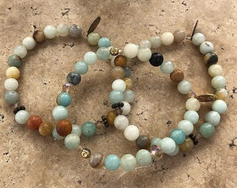 Wanderlust ∞ Crystals: Amazonite Natural Gemstone Bracelet with Crystals