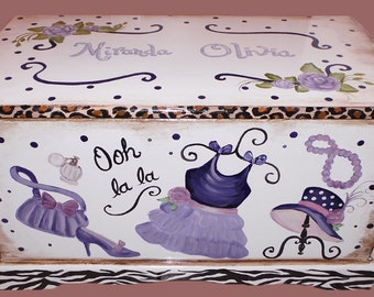 Glamour Girl Toy Chest Custom Designed  kids furniture , wooden chest, hand made, hand painted