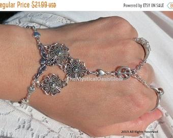 Sale Hippie hand chain slave bracelet, ring bracelet, hand bracelet, peace and love hippie bracelet, chain finger bracelet, ring bracelet