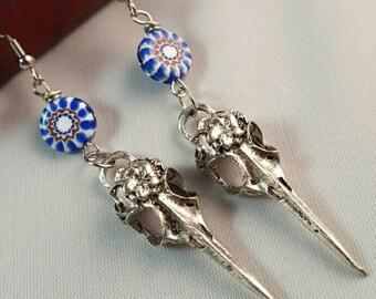 Tibetan Silver Bird Skull Earrings