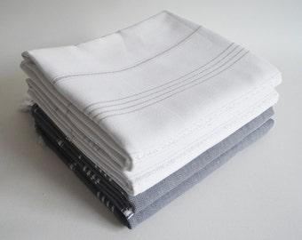 SALE 50 OFF / SET 4 / Turkish Beach Bath Towel / Classic Peshtemal / Warm Gray - White / Wedding Gift, Spa, Swim, Pool Towels and Pareo