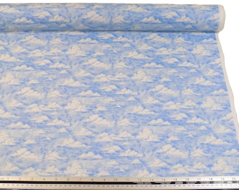 Sky Clouds Blue White 100% Cotton High Quality Fabric Material *2 Sizes*
