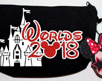 Awesome black cheer makeup bag customized for Worlds with Minnie Mouse - by FunBows !