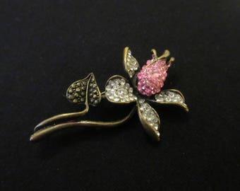 Vintage Pink Rosebud Floral Rhinestone Brooch