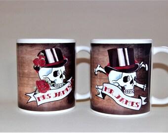 Mr and Mrs Mugs Skull and date banners customised to order wedding mugs anniversary mugs his and hers mugs mr and mrs wedding mugs