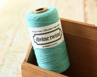 Solid TEAL Divine Twine 240yds SPOOL 4-ply cotton bakers twine string