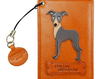 Italian Grayhound  Leather Dog Commuter Pass/Bus Pass/ID Card/Badge Holders *VANCA* Made in Japan #26500 6color variations Free Shipping