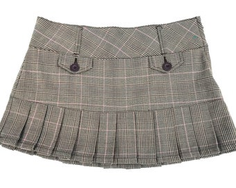 90s Pleated Grunge Plaid Schoolgirl Skirt