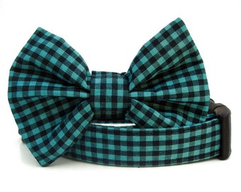 Black and Teal Gingham Bow Tie Dog Collar