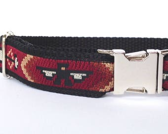 Dog collar: woven black and red with Native American pattern