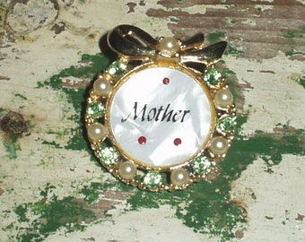 Vintage  Mother gold tone green rhinestones faux pearls and faux Mother of pearl Brooch pin Gift