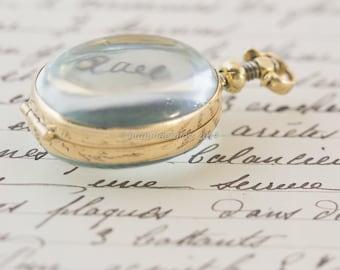 Glass Locket Brass Oval Findings Memento