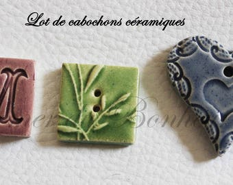 Set of 3 ceramic cabochons of shapes and different color